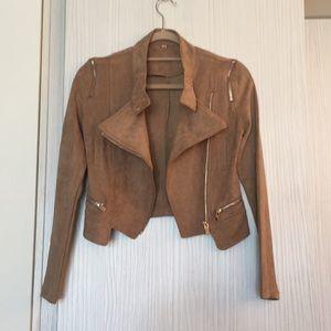 Faux suede crop Moto jacket